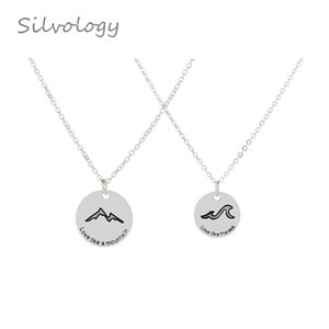 Silvology Mountain League Oath Couple Necklace Sterling 925 Silver Round Simple Creative Pendant Necklace Romantic Jewelry Gift