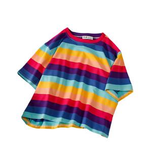 New Casual T Shirt Loose Rainbow Striped O Neck Short Sleeved Women Tops Female T Shirts Short Navel Harajuku