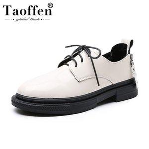 Taoffen 2020 Women Flat Shoes Mulheres Spring Escritório sapatas de trabalho Casual Cruz Outdoor Strap Flats calçado de tamanho 35-40