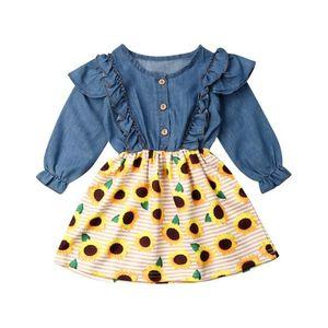 1-7T Little Girls Long Sleeve Dress bambino neonate bambini party casual Girasole abiti floreali Denim Tutu Abiti Sundress