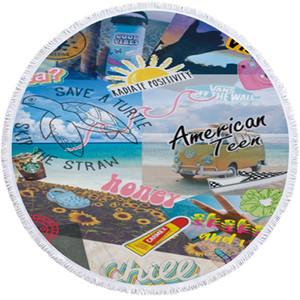 Lettre 3D imprimée couvertures de serviette de plage de la mode d'été de plage tapisseries suspendus tapis pompon pique-nique les tapis de yoga des femmes 150cm FFA3788-2