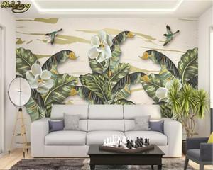 beibehang Custom photo wallpaper mural American art retro banana leaf hand-painted tropical rain forest background wall
