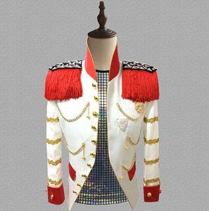 Blazer Uomo Abiti Designs Giacca Giacca da uomo Stage Court Uniform Singers Vestiti Dance Star Style Dress Punk Rock Masculino Homme Bianco
