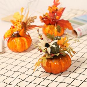 Simulação abóbora Maple Leaf Artificial Plantas Halloween Outono Inverno Home Decor