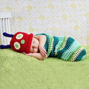 La fotografía apoya recién nacido sombrero lindo del bebé del ganchillo de punto Beanie sombrero caliente del traje infantil del bebé Bunting Bolsa