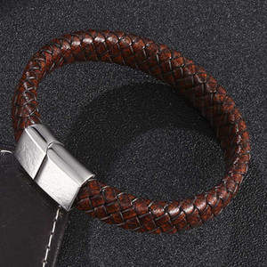 Vintage Brown Braided Leather Bracelet Men Jewelry 3 Colors Stainless Steel Magnetic Buckle Fashion Male Wrist Band Gifts S0450