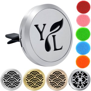 30mm YL Logo Magnet 316 Stainless Steel Car Aromatherapy Locket Free Pads Essential Oil Car Perfume Lockets Drop Shipping