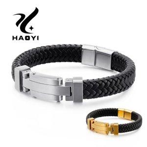 HAOYI Herrenmode Armband Edelstahl Leder-Rindleder-Material Armband-Weinlese-Männer Schmuck Großhandel
