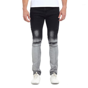 Jeans Mens Elegante Designer Black White Cor dos retalhos lavados calças lápis Jeans Color Gradatient