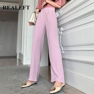 REALEFT 2020 Nouveau Printemps Violet Femmes Pantalons Chic Pantalon large taille haute jambe travail élégant Pantalon Femme Casual femme Pantalon