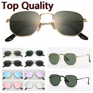 hexagonales de metal gafas de sol de las lentes de vidrio plano para gafas de sol para mujer para hombre masculino femenino con la caja marrón o negro, tela, caja de papel, accesorios
