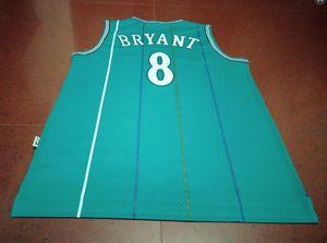 hombre rara mamba cabo púrpura verde # 8 K B de la vendimia de baloncesto real bordado Tamaño jersey de la universidad de S-XXL o costumbre cualquier nombre o el número del jersey