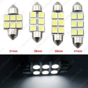 10pcs blanco Auto Bombillas LED 31mm 36mm 39mm 41mm 6-SMD 5050 Viruta bóveda del adorno de la luz Mapa de Carga del coche LED # 4817