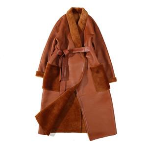 Inverno 2020 Brasão Mulheres de pele de carneiro Fur jaqueta Shearing Belt Brown Genuine Leather Jacket Plus Size Casaco de Inverno Mulheres Moda Wear