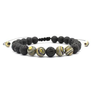 Preto lava vulcânica Pedra contas pulseira de 8mm Pedra Natural Energia Bangle Yoga Charm Bracelet para o presente de Natal Homens Mulheres casal jóias