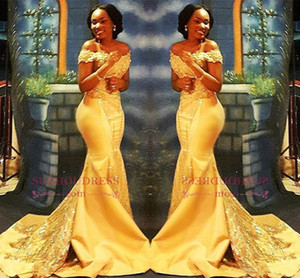 African Nigerian Yellow Mermaid Prom Dresses 2018 Off Spalle in pizzo con paillettes da sera in raso Abiti abiti arabi