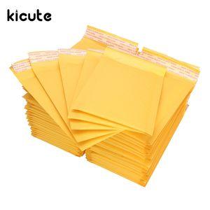 Kicute 50 stücke Neueste Kraft Bubble Mailers Gepolsterte Umschläge Gelb Selbstdichtende Versandtaschen 120x180mm Büro Schule Schreibwaren