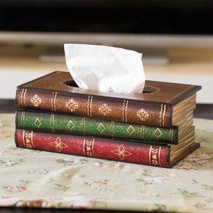 Rétro style Livre forme Boîtes de mouchoirs tissus boîte de luxe boîte en Europe classique Porte-papier serviette anneau tissu Boîte de rangement