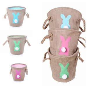 Fashion Easter Linen basket Cute Gifts Tote Handbags Double Raised Basket Rabbit Burlap Bags Party Favor EEA497