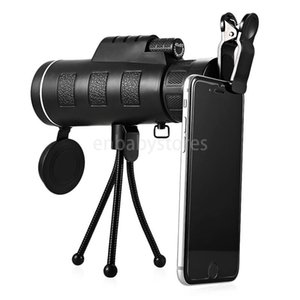 E Telescope 40X60 Phone Monocular Clip Tripod HD Night Vision Prism Scope For Hunting Camping Climbing Fishing with Compass 10pcs in retail