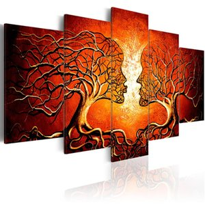 5 Pieces Home Decor Unframed Love Tree Kissing Tree Canvas Painting Living Room Bedroom Hotel Decor Painting Abstract Painting