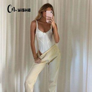 CNYISHE Solid Sexy Sleeveless Women Bodysuits Women Jumpsuits Fashion Bodycon Skinny Clubwear Basic White Bodysuit Female Romper
