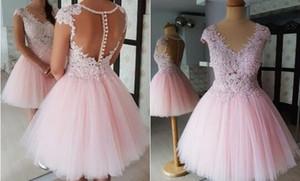 진짜 사진 핑크 짧은 파티 댄스 파티 드레스 2021 V 넥 레이스 아플리케 라인 얇은 명주 그린 졸업식 졸업식 졸업 드레스