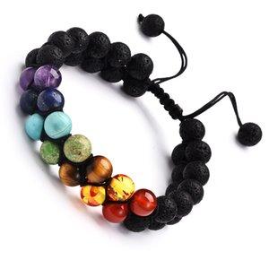 Bracelet multicouche coloré de chakra naturel de pierre de lave colorée de 8mm Turquoise 7