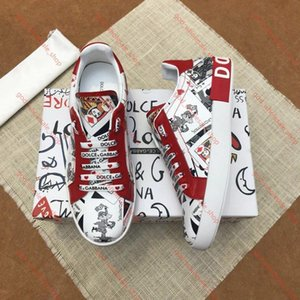 xshfbcl Low-Top Sneakers Portofino Printed Nappa Calfskin Tag Decorative Rubber Outsole Men's Graffiti Sneakers