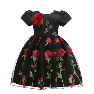 Baby Girls Dress Summer Clothes Short sleeve embroidered tutu Children Birthday Party Costume embroidered flower princess dress