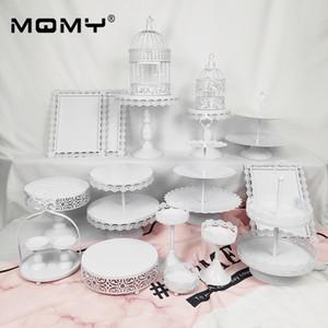 19 Stücke Cupcake Set Zubehör Tablett Metall Großhandel Weiß Rosa Vintage Birdcage 2 Tier Hochzeitstorte Stand