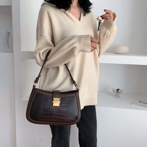 Padrão Designer-Stone PU bolsas de couro Bandoleira For Women 2019 Sólidos ombro Cor Messenger Bag Feminino Bolsas Saddle Bag