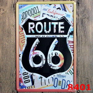 Craft parete in metallo Targhe in metallo Retro Poster ROUTE 66 Vintage Decor Sticker metallo decorativi vintage placca 20x30cm