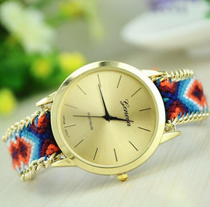 Fashion Handmade Weave Rope Bracelet Women Watch Colorful Geneva Hand-Woven Watch Ladies Quarzt Watch Christmas Gift