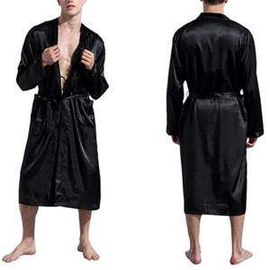 Hommes en satin de soie Peignoir Robe longue en soie solide Pyjama Homme Chemise de nuit kimono de nuit homme Peignoir