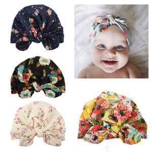 Yeni tasarım Avrupa ABD bebek yay-düğüm çiçek baskılı korunma kap sevimli boygirl saç aksesuarları pamuk 100% Bunny Kulakları