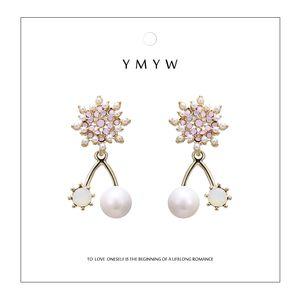 YMYW elegante squisito simulato Perle Orecchini romantico rosa con strass Sun Flower 16 K metallo orecchini per le donne Bijoux