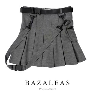 Bazaleas Fashion Gonne a pieghe Gonne donna Sexy harajuku Short Casual Grigio Fusciacche Punk Mini gonna Vintage