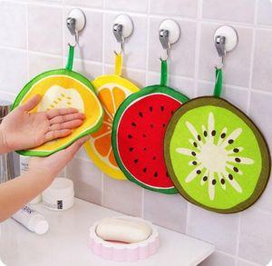 Fruit impressão bonito de suspensão Toalha Cozinha Mão microfibra Toalhas Quick-seco Dish Rag Pano Limpando guardanapo SN64