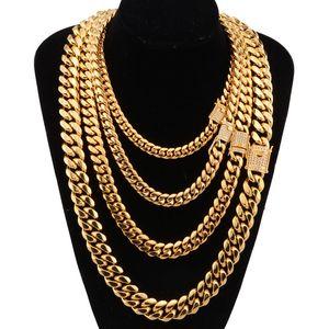 8-18 mm de ancho acero inoxidable cubano Miami cadenas collares Cz Zircon Box Lock Big Heavy cadena de oro para hombre joyería de Hip Hop Rock J190711