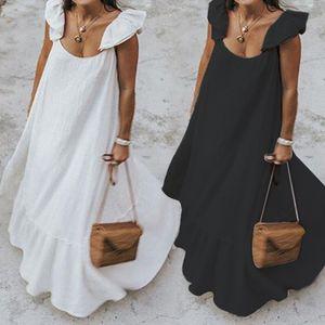 Celmia 2020 Verão Ruffles Vestido de Verão Mulheres Bohemian Sólidos Casual Maxi vestido solto Feminino mangas Robe Longo Vestidos Plus Size