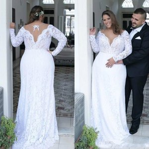 NEW Cheap Plus Size Wedding Dresses Deep V Neck Sheath Vintage Long Sleeves Wedding Dresses Bridal Gowns Sweep Train Spring Summer Wear Gown