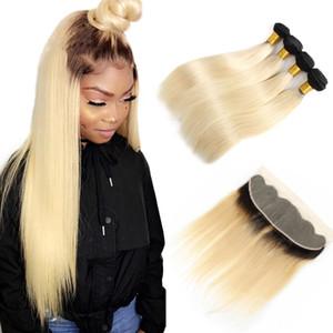 1b / 613 Ombre Raides cheveux blonds brésiliens Raides cheveux raides Bundles avec Frontale Ombre Droite frontale Extension de cheveux humains