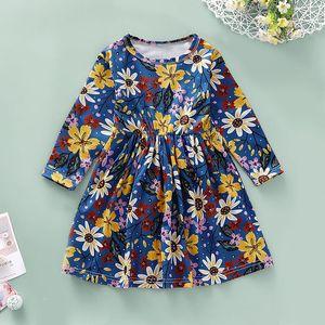 2019 neue Kinder-Herbst-Blumendruck Baumwollprinzessinkleid der langen Hülse Kleider P06