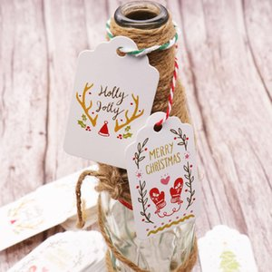 50pcs lot Merry Christmas DIY Unique Gift Tags tag Small Card Optional String DIY Craft Label Party Decor