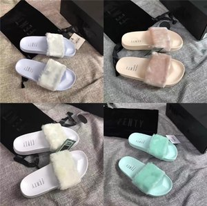 Summer Cute Multicolor Fur Slippers Women Wear Fashion Flat Sexy Transparent Soft Sandals Convenient Comfortable Women Shoes#457