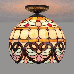 30CM European love Baroque Tiffany ceiling lamp stained glass decorative lamp dining room bedroom aisle corridor bathroom ceiling lamp