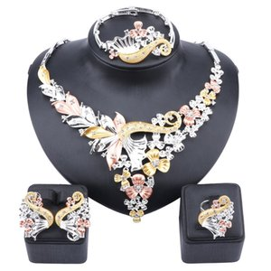African Bridal Dubai Jewelry Sets Crystal Necklace Earrings Ring Bangle Nigerian Women Fashion Wedding Multicolor Jewelry