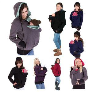 Womens Maternity Kangaroo Hoodies 양털 3PCS 아기 운반 대를위한 두건이있는 스웨터를 지퍼로 잠그십시오 여자를위한 r 캥거루 스웨터 외투