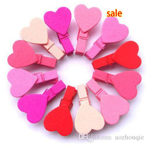 Wholesale 300PCS Mini Heart Love Wooden Clothes Photo Paper Peg Pin Clothespin wedding supplies Craft Clips